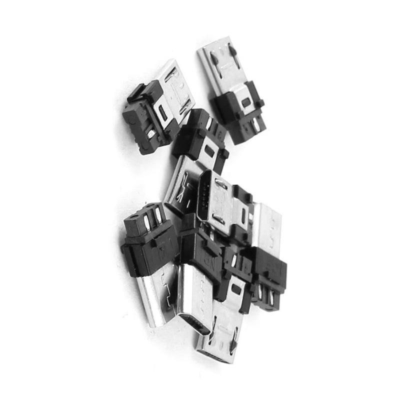 3X-10-piezas-Micro-USB-5-pin-conector-macho-tipo-B-de-enchufe-de-soldadura-Z8I8