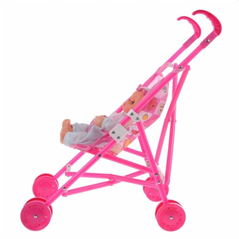 5X(Dolls Buggy Stroller Pushchair Pram Foldable Toy Doll Pram Baby Doll I4V2)