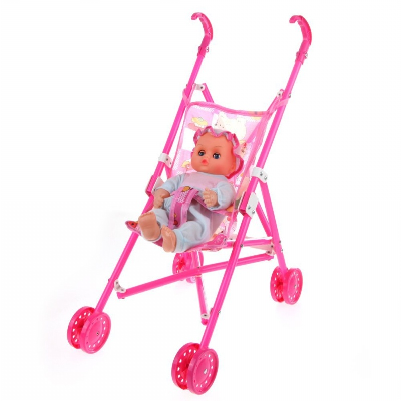 5X(Dolls Buggy Stroller Pushchair Pram Foldable Toy Doll Pram Baby Doll B7I6) MO