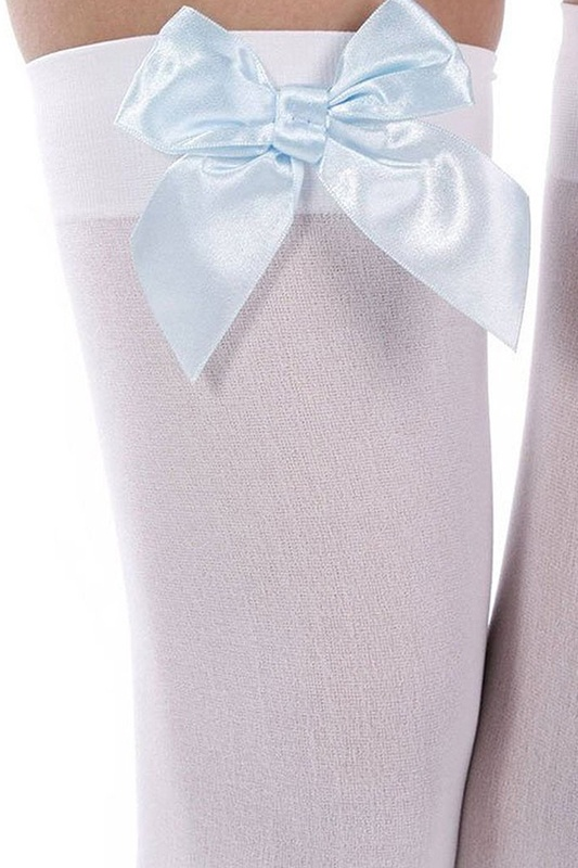Women-039-s-High-Thigh-Loop-Socks-white-blue-Y7B7