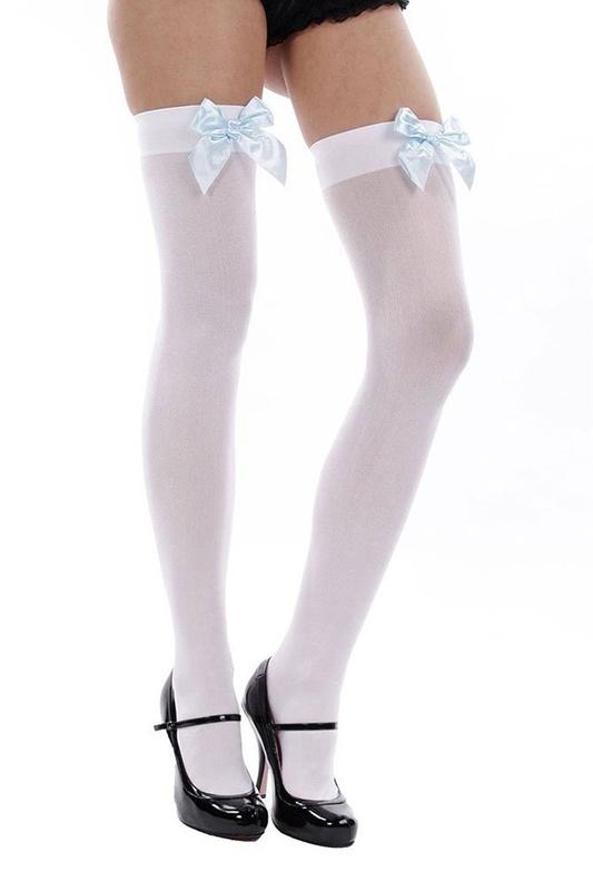 Women's High Thigh Loop Socks white+blue Y7B7