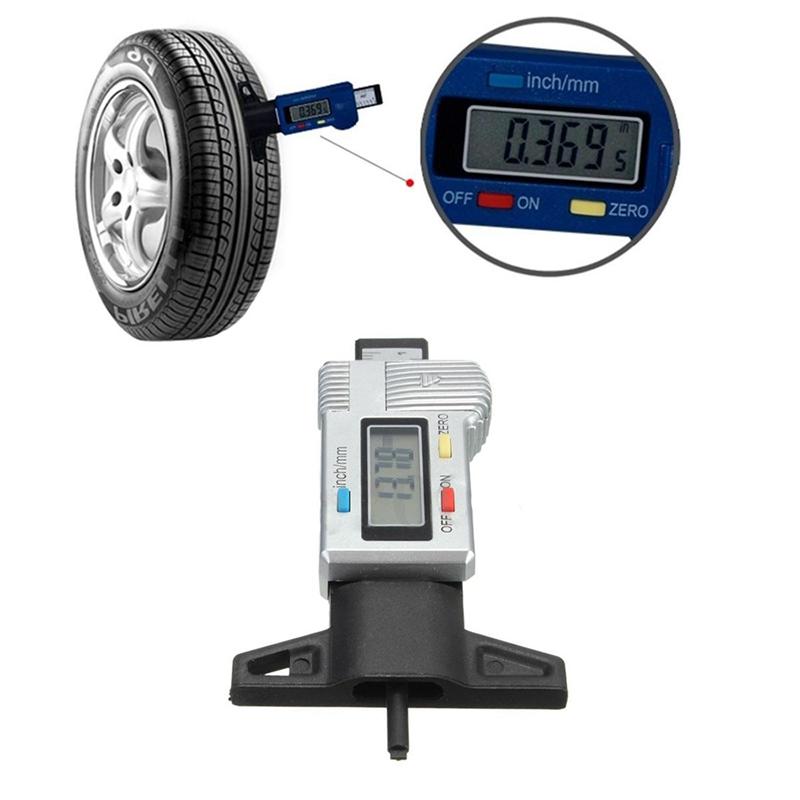 LCD Display Digital Tyre Tire Tread Depth Gauge Brake Pad Tester Caliper 0-25 C4