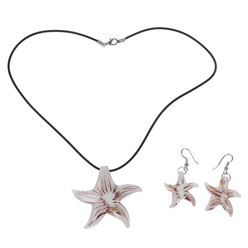 Set-Starfish-Lampwork-Glass-Necklace-Pendant-Earrings-HOT-Q7O5