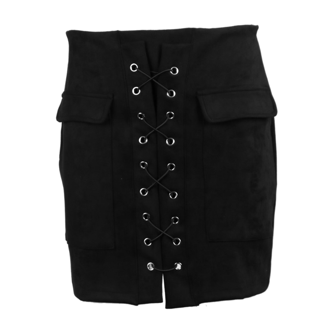 Women's Lace Up Suede Leather Skirt Preppy Bodycon High Waist ...