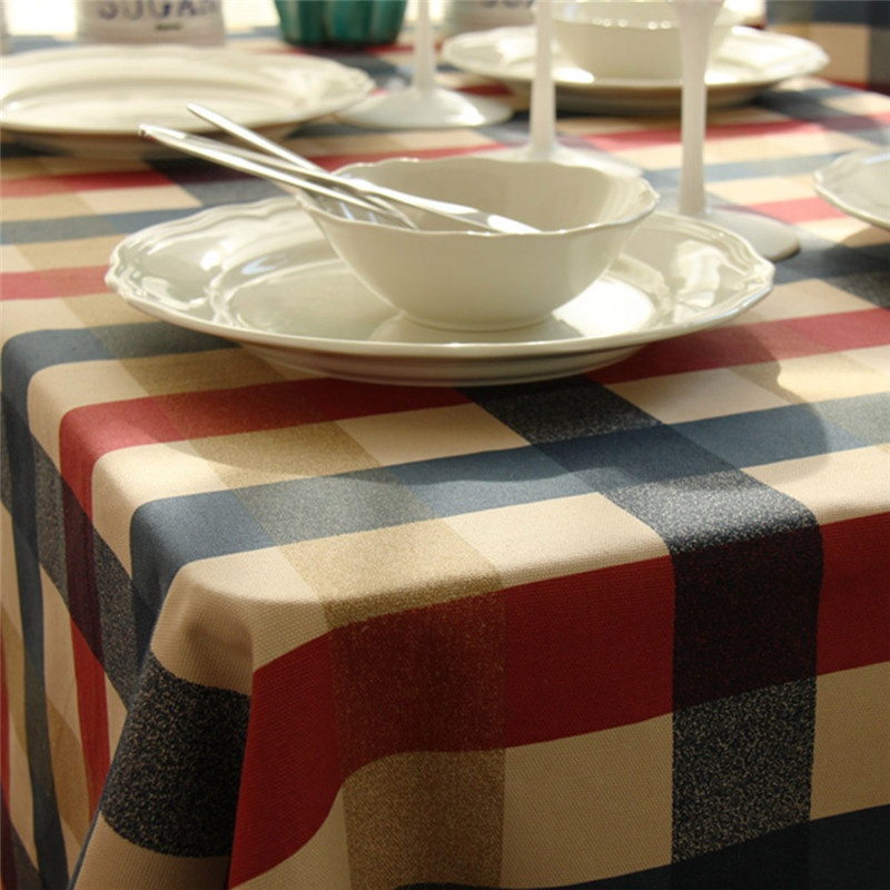 Yellow Amp Red Amp Blue Plaid Design Tablecloths Printed