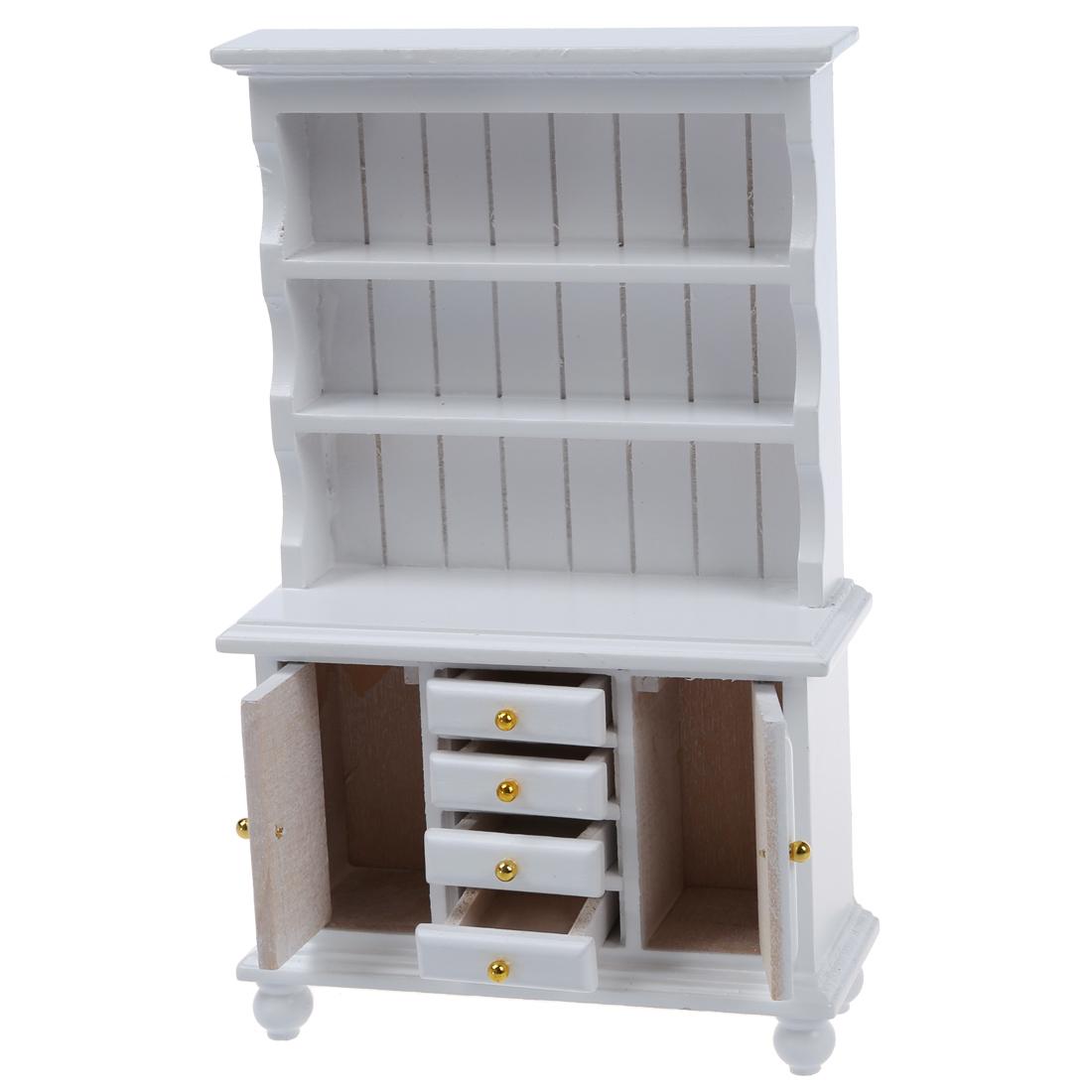 1 12 puppenhaus miniatur moebel multifunktions holzgehaeuse buecherregal weiss ebay. Black Bedroom Furniture Sets. Home Design Ideas