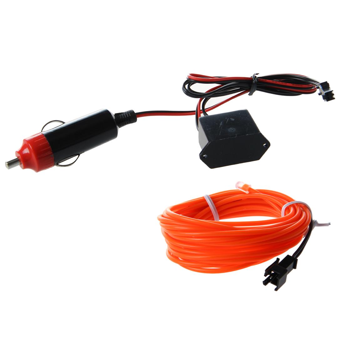 led el wire neon glow tube lamp light dc 12v inverter for car 3m orange a5x8 ebay. Black Bedroom Furniture Sets. Home Design Ideas