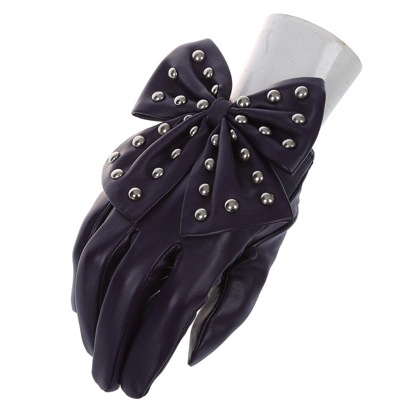 Damen Nieten Schmetterlings Bogen weicher PU Leder Handschuhe Rose Rot N4X1