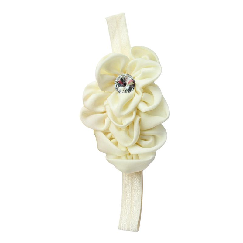 Kopfband Chiffon Haarband Baby Maedchen Blumen Headband Beige K9V7