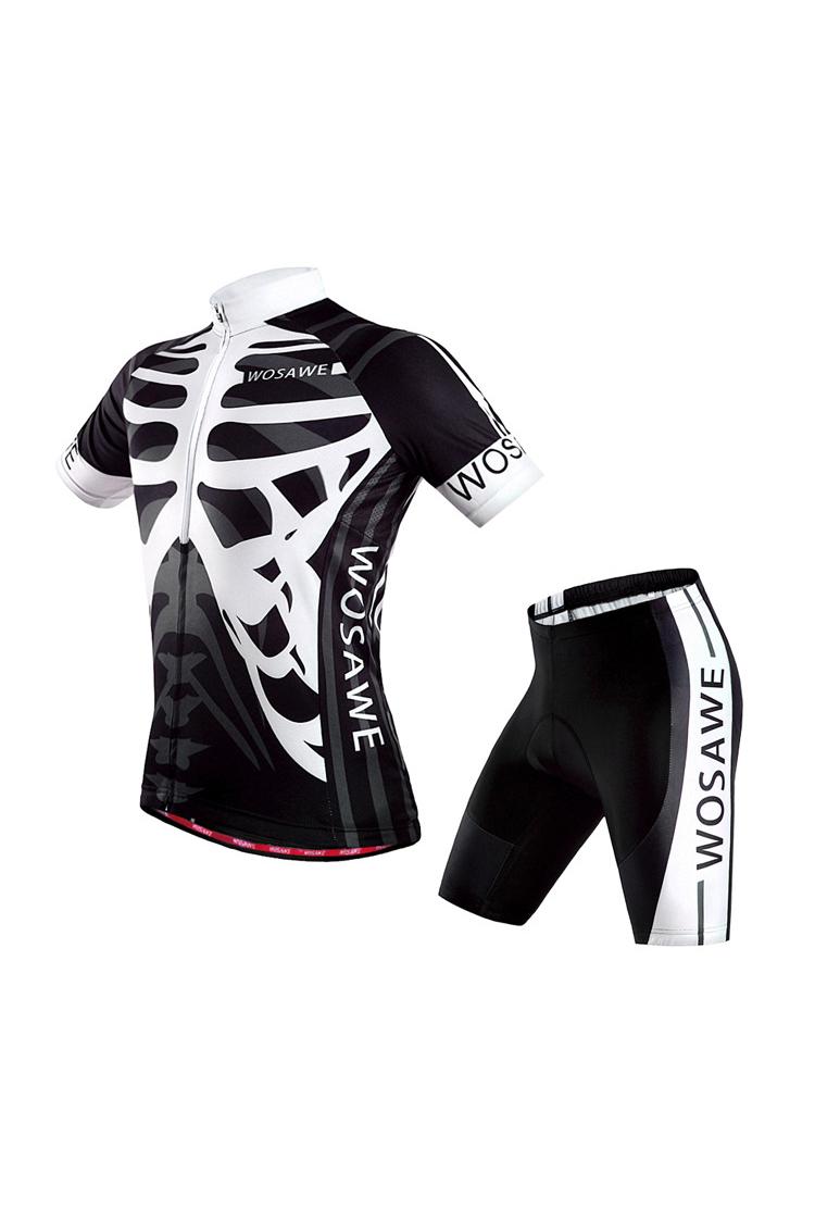 WOSAWE Radsportbekleidung Kurzaermeliger Anzug mit Skelett Muster B4H6