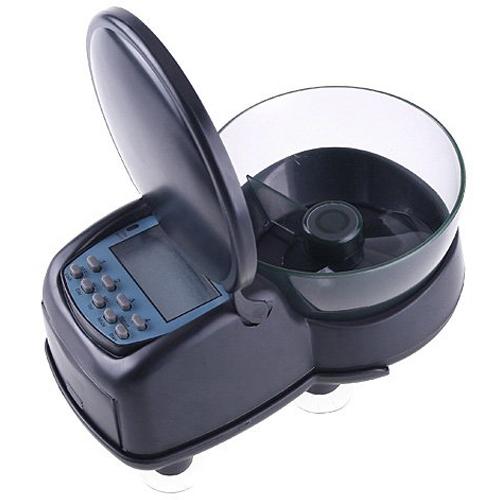 Automatic aquarium tank fish food timer feeder black n6f7 for Fish tank feeder