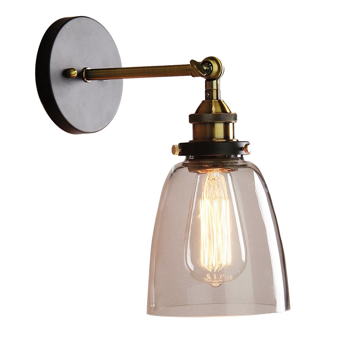 Industrial Edison 1 Light Glass Shade Wall Mount Fixture