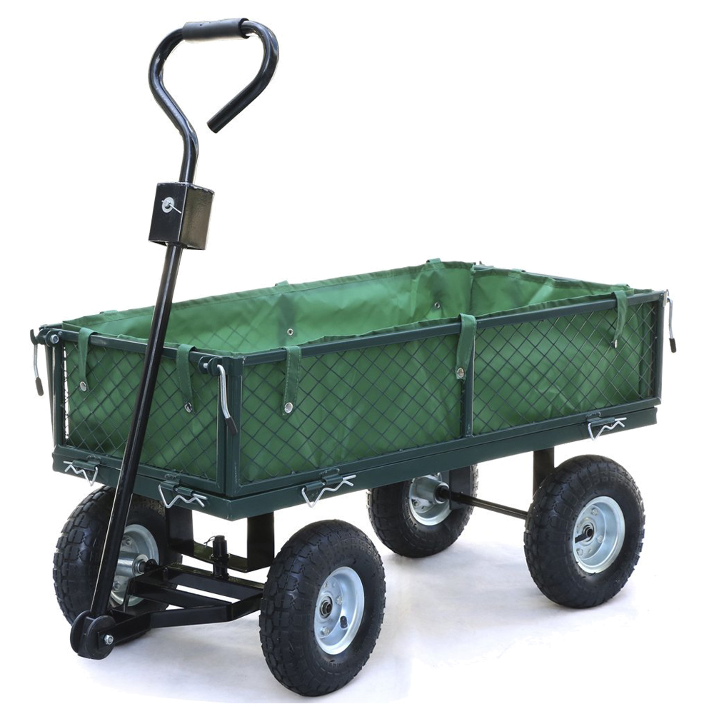 Small Scale 200kg Metal Garden Outdoor Utility Hand Cart W