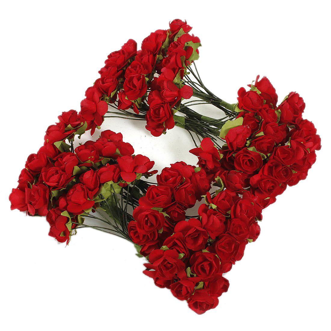 144 X Artificial Paper Red Rose Flower Wedding Craft Decor H6o6 A7m4