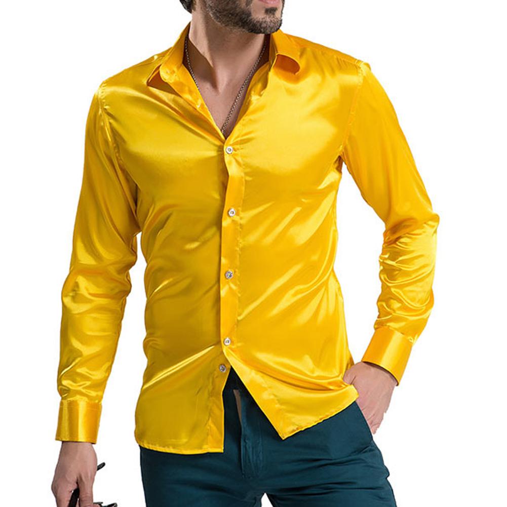 Men 39 s high grade silk long sleeve shirts men 39 s casual for Silk long sleeve shirt