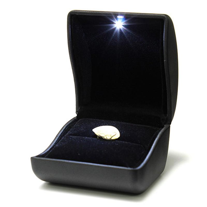 ecrin bague boite a bijoux cadeau mariage fiancaille noir avec led lumineux n8p3 ebay