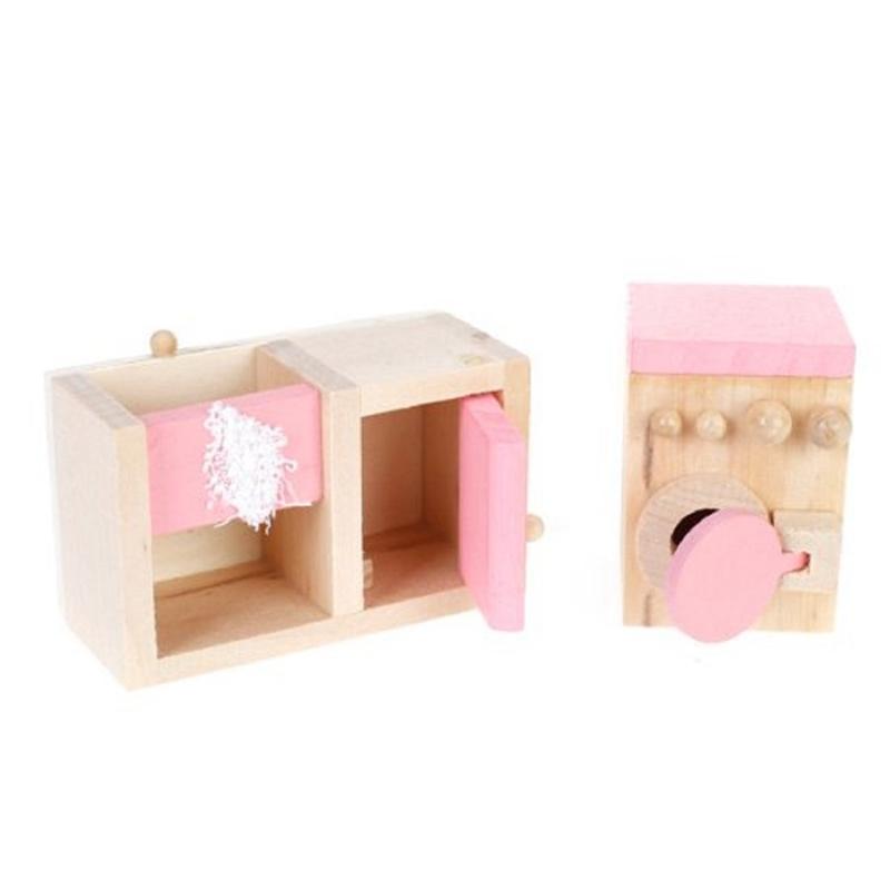 Pink Children Wooden Doll House Kitchen Furniture Kids