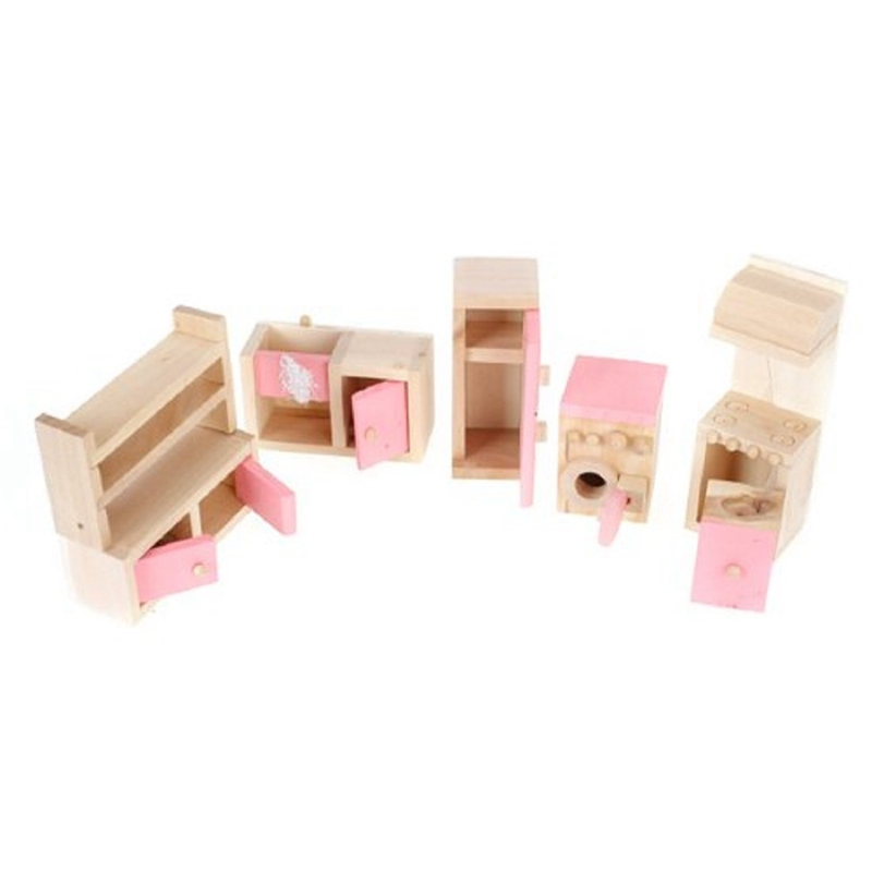 1X(Pink Children Wooden Doll House Kitchen Furniture Kids Room T6I3)