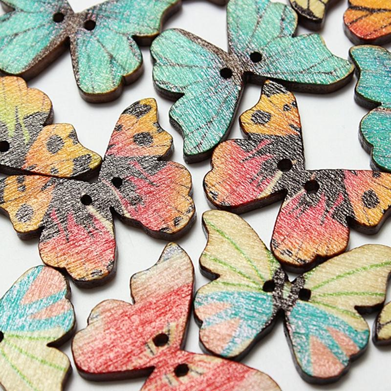 50pzs-Boton-de-madera-de-mariposa-mixta-de-2-agujeros-Artesania-DIY-album-d-B8W3