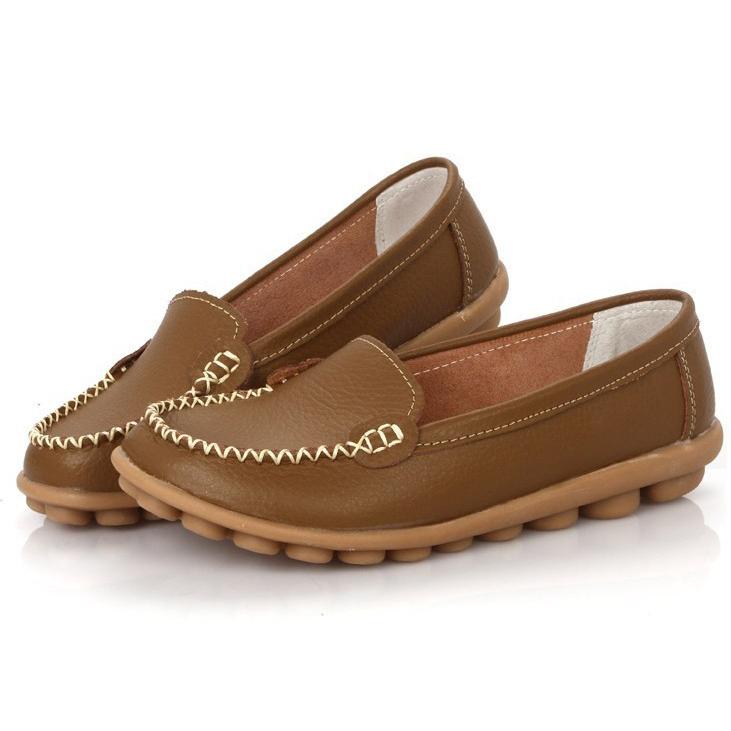 Women-Flats-100-Genuine-Leather-Shoes-Slip-on-Comfort-8-Colors-Moccasins-K8L9