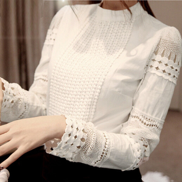 Fashion-New-Hot-Women-Long-Hollow-Splicing-Shirt-Lace-Sleeve-OL-Tops-Round-I4Y4