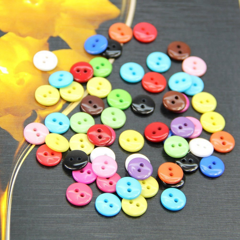 PF 5X 100pcs 8mm Mixed Color Round Shape Resin Buttons Sewing Accessories L6Y9