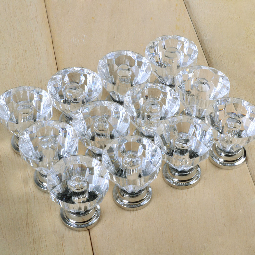 Glass Kitchen Cabinet Door Handles: 12x Crystal Glass Door Knobs Drawer Cabinet Furniture Pull