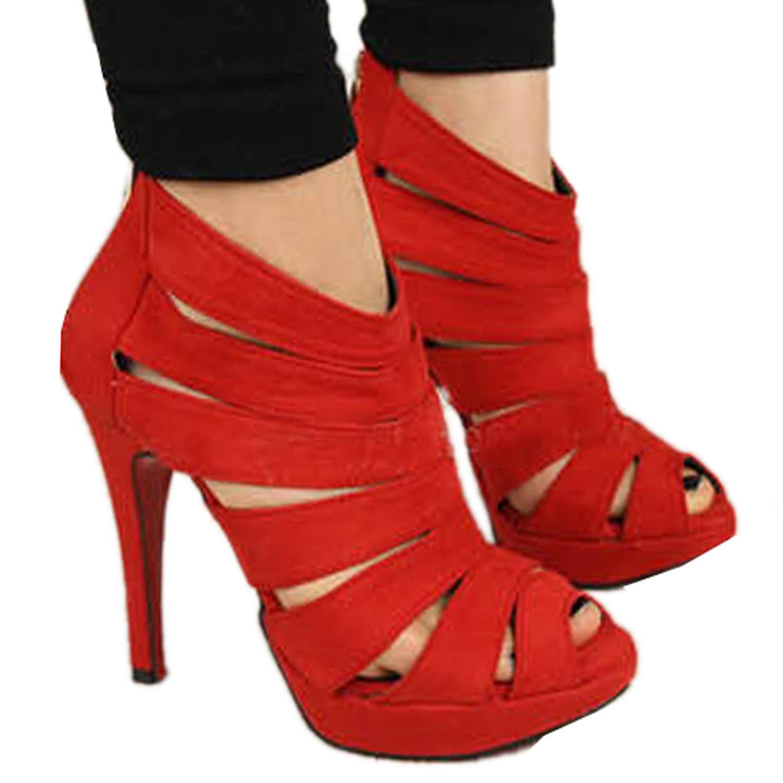 Women-High-Heel-Strap-Sandal-Ankle-Platform-Pump-Shoes-Red-Size-39-D8P3