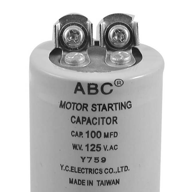 Cylinder 100mfd 125vac motor starting capacitor ts ebay for Motor start capacitors for sale