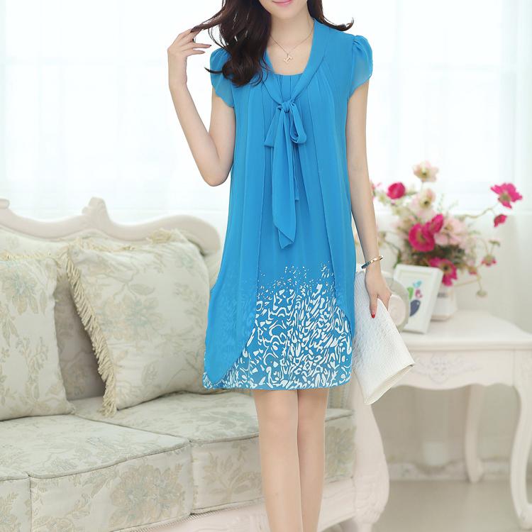 women-Dress-casual-rodado-chiffon-dresses-fashion-Vestido-Aquamarine-WS
