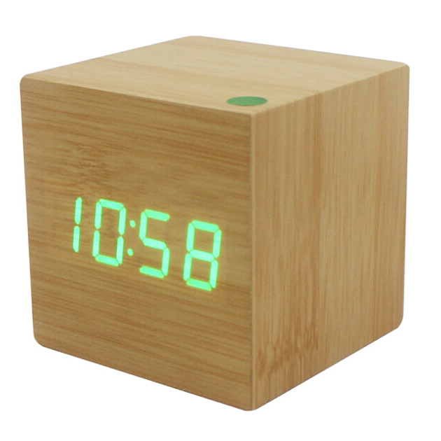wood cube led alarm desk clock room temperature wood tg ebay. Black Bedroom Furniture Sets. Home Design Ideas