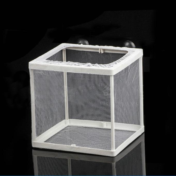 Criadero-de-cria-de-plastico-blanco-con-Malla-de-Tanque-de-pescado-Con-Ventosas