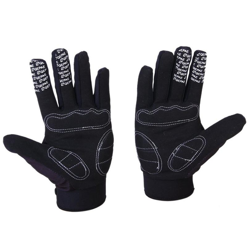 Qepae Fahrradhandschuhe Skeleton Pattern Voller Finger Warm Fahrrad Sport N1 3X