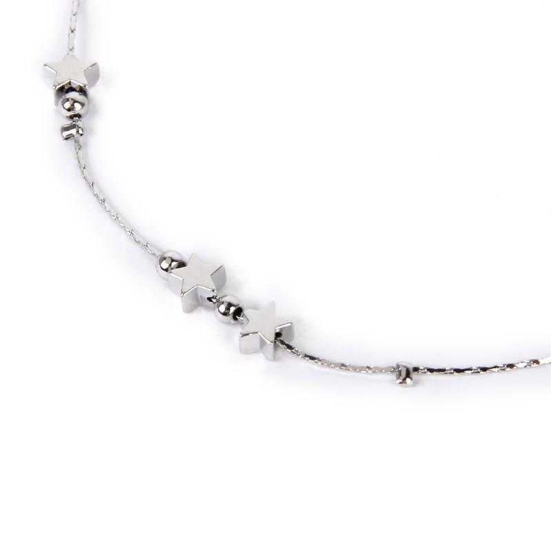 2X Chaine Bracelet de Cheville a la Mode avec Decor des etoiles a Cinq BranI5O9