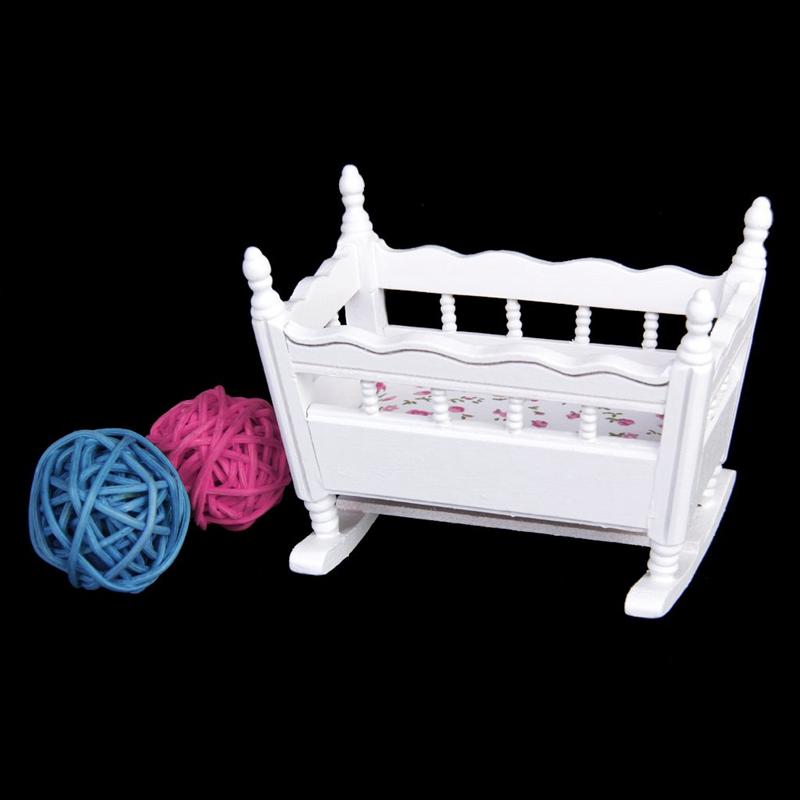 1/12 Puppenhaus Miniatur Weiss Holz Kindergarten Wiege Babybett Q6G7 5X Möbel