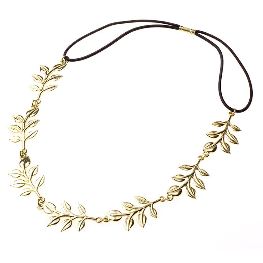 Золотая металлическая элегантная оливковая форма листьев головного уплотнения