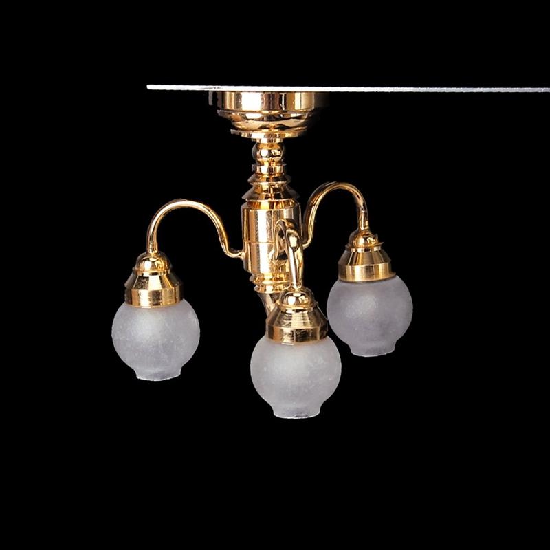 1:12 Dollhouse Brass Chandelier 3 Arm Lamp LED Ceiling