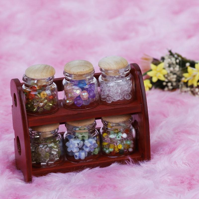 5X-1-12-Miniatur-Glas-Flasche-Gewuerztopf-Jars-Rack-Puppenhaus-Zubehoer-K-F1A5-W