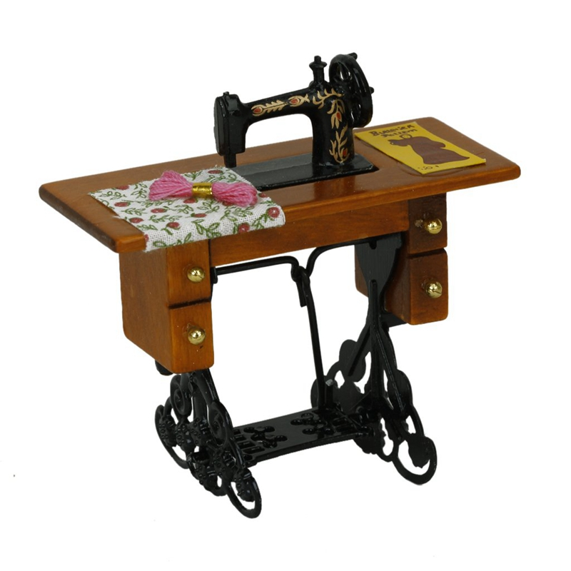 Vintage Miniature Sewing Machine With Cloth for 1/12 Scale Dollhouse Decora B2U6