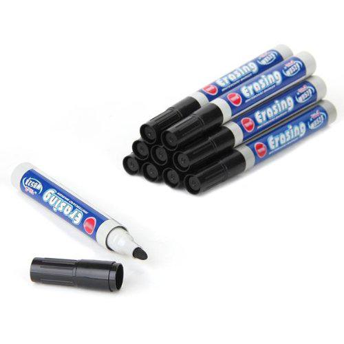 10 Rotulador de fieltros negro borrable para Pizarra blanca para oficina B6J8