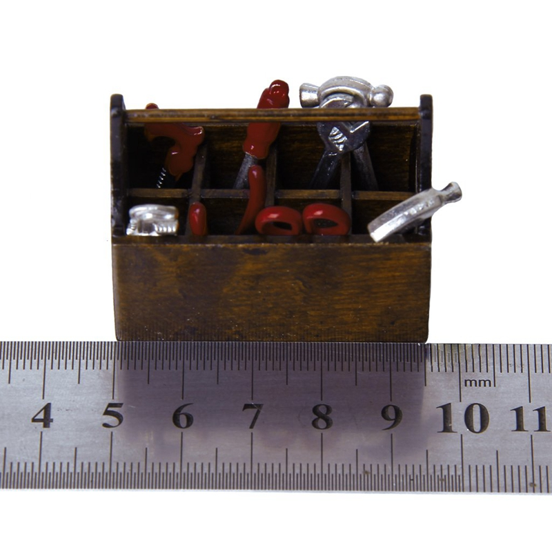 5X(1/12 Dollhouse Miniature Wooden Box with Metal Tool Set H3K2)