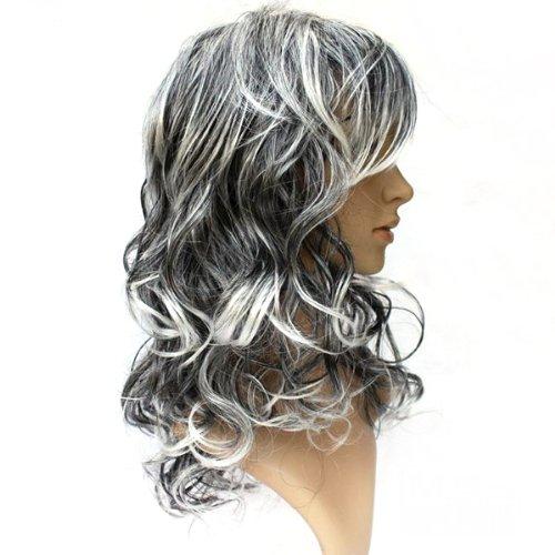 Черно белый цвет волос на средних волосах