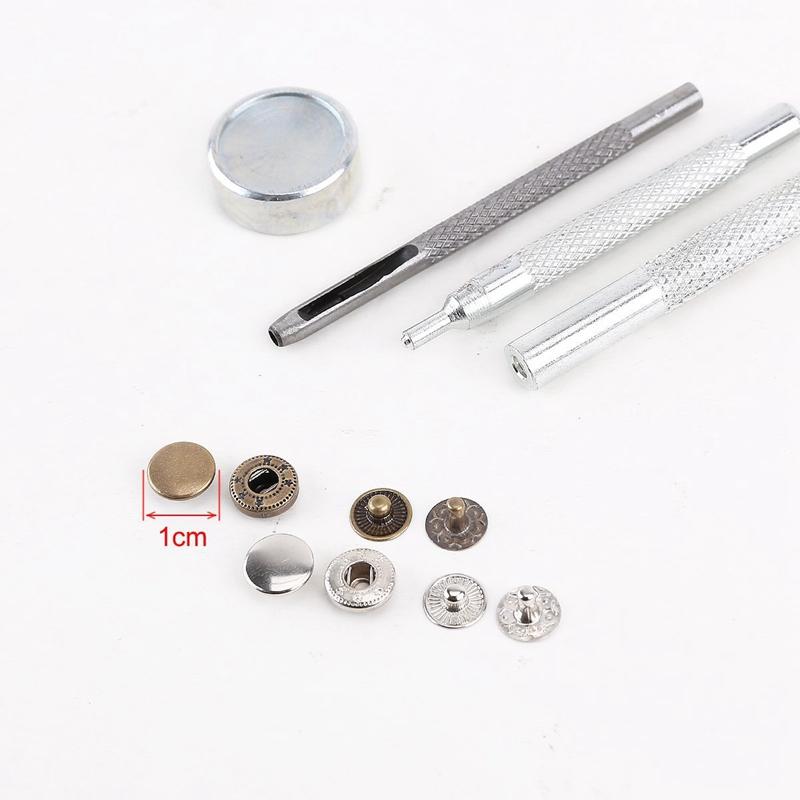 25pcs plata + 25 de bronce las PC 10mm boton metalico Metal Conjunto herramil1O1