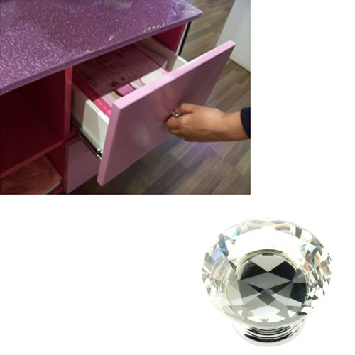 10pcs Diamond Shape Crystal Glass Drawer Cabinet Pull Handle Knob L5C9