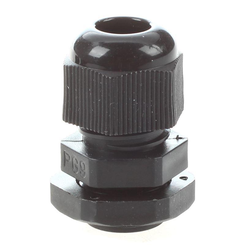 1X(5pzs PG9 Conector glandula de cable impermeable plastico negro W8J5)