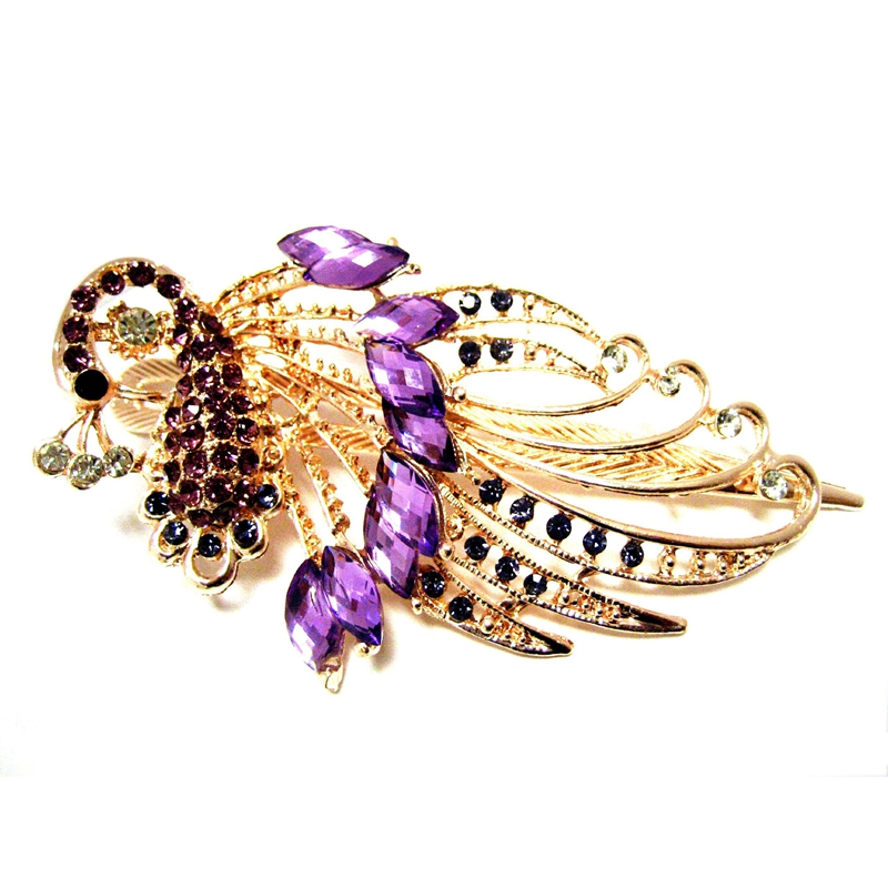 Lovely-Vintage-Jewelry-Crystal-Purple-Peacock-Hair-Clips-for-hair-clip-Beau-RS