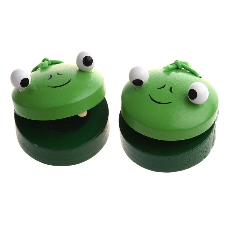2X(1 Paar Baby-Holzspielzeug Frosch Runde Castanet Musikinstrument Spielzeu G0L1