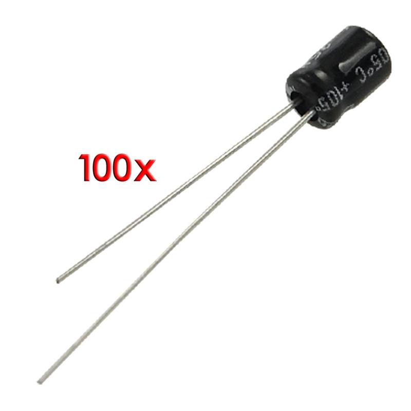 100-piezas-4-x-5mm-10uF-25V-Condensadores-electroliticos-de-aluminio-O7I8