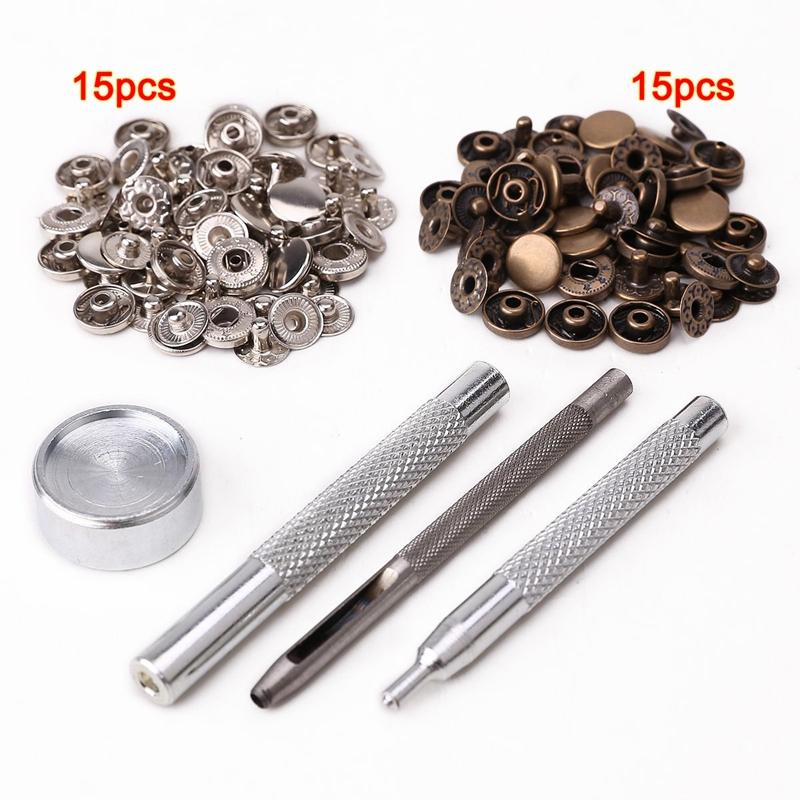 30pcs 10mm boton de metal + conjunto de herramientas para articulo de cuero N UY