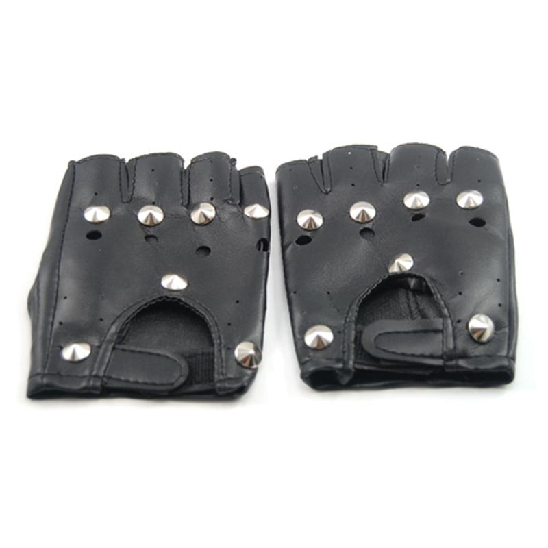LEDER AUSSEHEN fingerlose Handschuhe SOUMONCES E9V3
